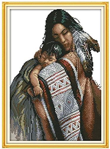LZYHD Komplett utbud av broderistartsats gör-det-själv broderi hantverkskit mamma dotter startpaket 11 karat stämplade korsstygnskit vuxen handarbete nybörjare barn gåvosats för heminredning, 40 x 50 cm