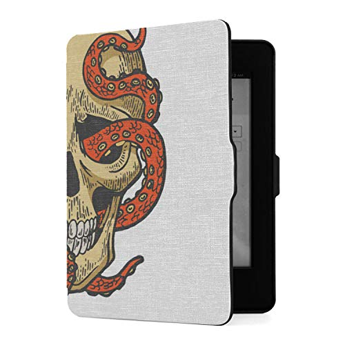 Case for Kindle Paperwhite Octopus in Human Skull Color Sketch Vector Kindle Paperwhite 3rd Generation Case Pu Leather Smart Cover with Auto Wake Sleep,fits All Paperwhite Generations Prior to 2018 (