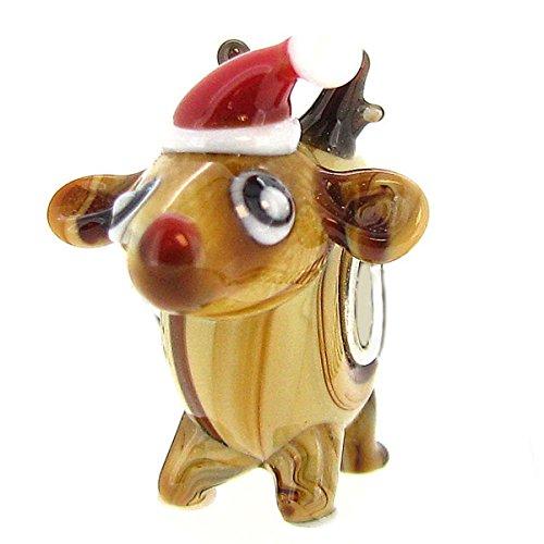 Queenberry Charm Natalizio in Argento Sterling e Vetro, a Forma di Renna di Natale con Naso Rosso, per bracciali Pandora, Chamilia, Troll, Biagi e Altri