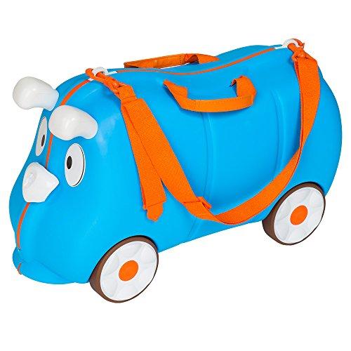 TecTake Valigia bagaglio cavalcabile con ruote per bambini blu