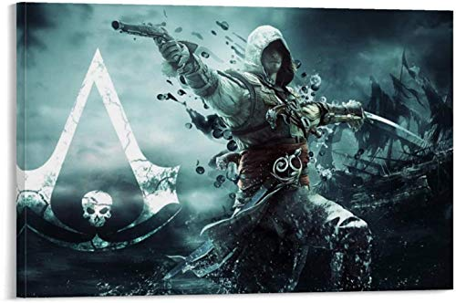 Posters Painting Decoration Home Decoration Artwork Assassin's Creed Black Flag Game Modern Living Room Abstract Canvas 12x18inch(30x45cm)