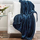 The Connecticut Home Company Soft FluffyVelvet Bed Throw Blanket, Luxury Sherpa Reversible Blankets, Comfy Plush Washable Accent Throws for Sofa, Couch, Fuzzy Home Bedroom Decor,65x50, Navy Blue