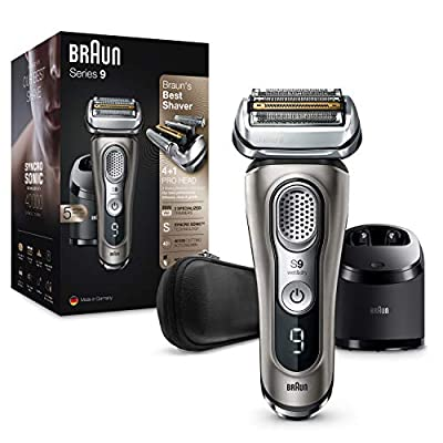 Braun Series 9 9385cc Latest Generation Electric Shaver Clean and Charge Station Leather Case Graphite, 2 pin plug
