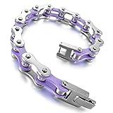 Adisaer Acier Inoxydable Gourmette Hommes Bracelet Charms Ajourés creuses violet Argent Biker Punk Rock