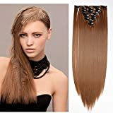 SEGO Rajout Cheveux Syntetique a Clip Extension pas Cher Raide - 66 cm Chatain Clair - [8 Piece 18 Clips] Clip in Hair