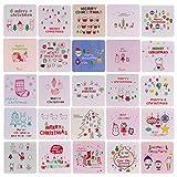 Heallily 144 pezzi mini cartolina di natale cartolina di natale con buste vuote elementi n...