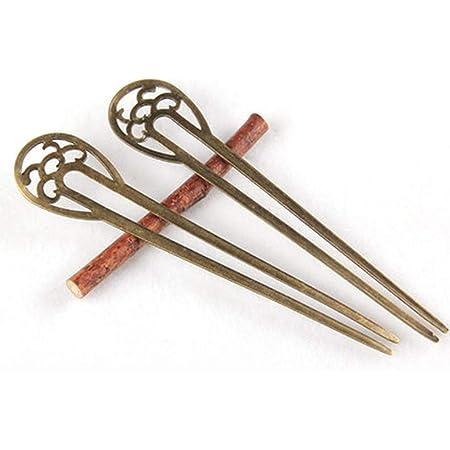 Frcolor 2pcs bastoncini per capelli vintage perni capelli spessi bacchette per capelli eleganti a forma di U copricapo per donna (bronzo)