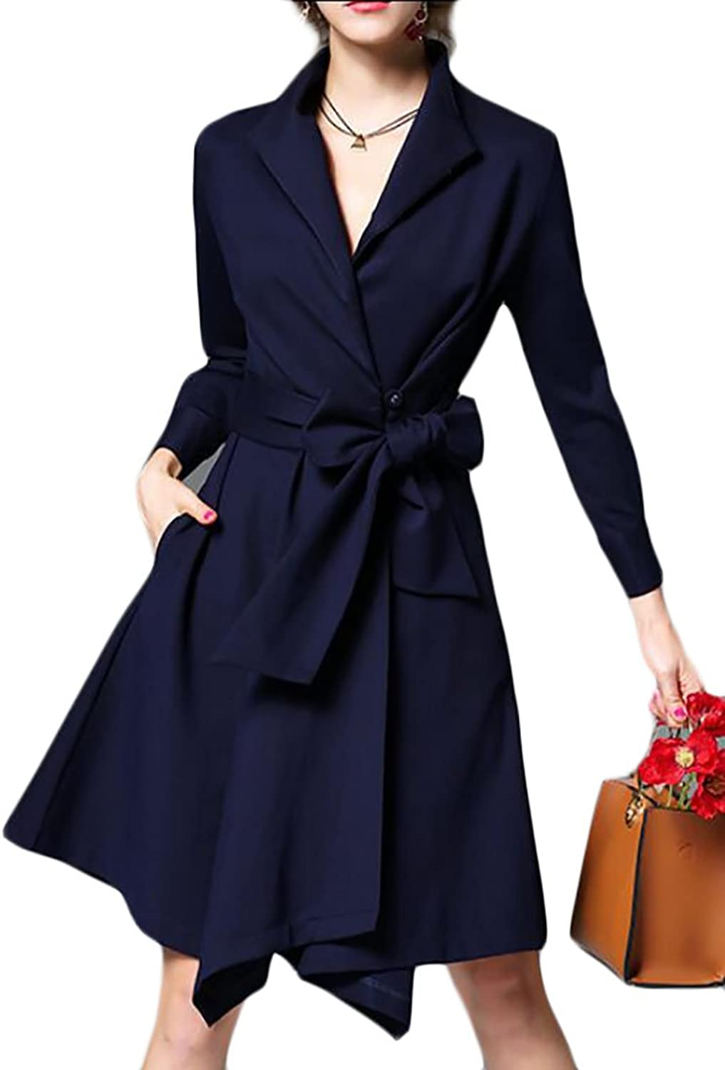 GAGA Women Classic Long Sleeve Wrap With Belt Midi Dress