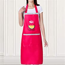 YXDZ (2 Pieces Kitchen Pu Waterproof Apron Overalls Aquatic Special European Fashion Waterproof Oil-Proof Chef Apron Men and Women Rose Red