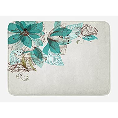 Ambesonne Turquoise Bath Mat by, Flowers Buds Leaf at the top Left Corner Festive Season Celebrating Theme, Plush Bathroom Decor Mat with Non Slip Backing, 29.5 W X 17.5 W Inches, Teal Pale Green