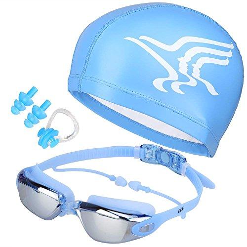 Canst Kaser Schwimmbrillen + Badekappen/Bademütze/Schwimmkappe, Schwimmbrille mit Antibeschlag und UV Schutz für Damen Herren & Kinder, Geschenke Nasenklammer,Ohrstöpsel (Blau)