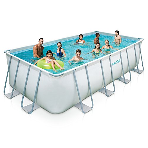 Summer Waves Elite Rectangular Metal Frame Swimming Pool Package, 9' x 18'