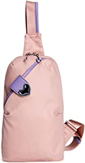 Oxford Cloth Chest Bag Mini Casual Canvas Bag Chest Bag Small Backpack Tide (Color : Pink)