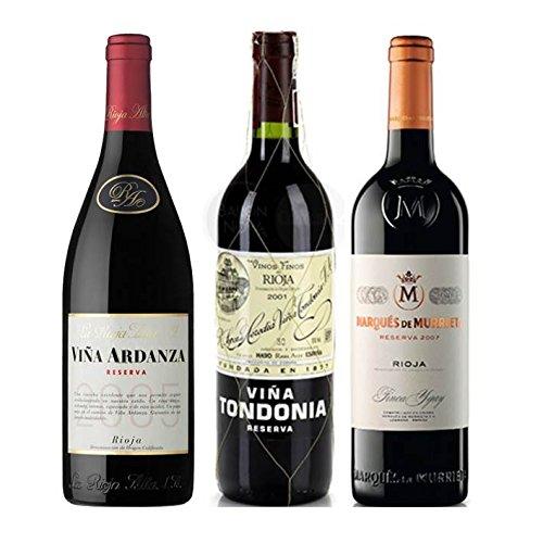 Pack Vino Top Rioja 3 botellas. 1 Viña Ardanza, 1 Viña Tondonia Reserva y 1 Marques de Murrieta Reserva