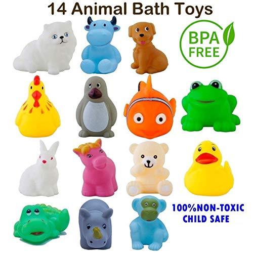 Ramakada Chu Chu Bath Toys for Baby Non-Toxic Toddler Set Multi Color (1 Set - 14 Pcs)