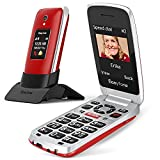 Easyfone Prime-A1 Pro gsm Teléfono Móvil para Mayores con Tapa, Botón SOS con GPS, Audífonos Compatibles, Batería 1500mAh, Telefonos basicos para Mayores con Base de Carga (Rojo)