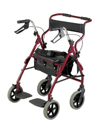 Patterson Medical - Andador y silla de transporte 2 en 1, color burdeos