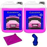 Cleanerist Snowfoam Pink Champú concentrado para coche y caravana, espuma activa, 2 x 5 l, incluye boquilla y paño de microfibra