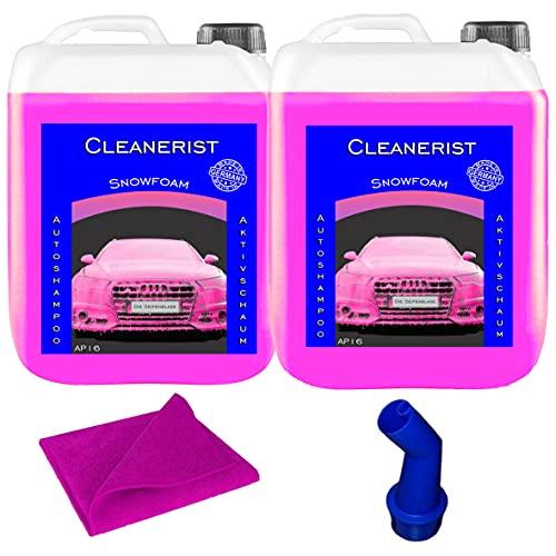 Cleanerist 2 x 5 litri Snow Foam PINK I concentrato | Shampoo per auto anche per roulotte e caravan | lavaggio auto I Foamer I schiuma attiva I con beccuccio e panno in microfibra