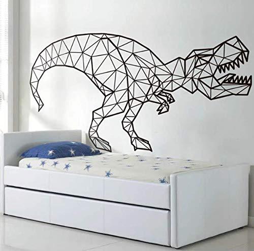 Calcomanías de dinosaurio para pared, adhesivo de vinilo de dinosaurio geométrico, arte de pared para habitación de niños, decoración de pared para dormitorio infantil, 84 * 42Cm