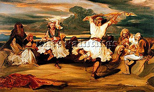 Elite-Paintings DECAMPS Albanian Dancers Artist Painting Handmade Oil Canvas REPRO Wall Art Deco 14x24inch
