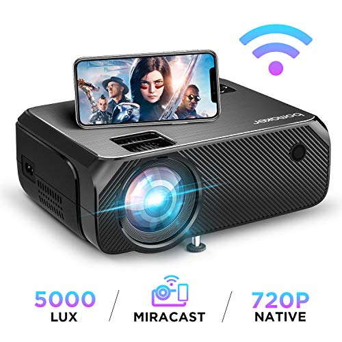 Bomaker Wi-Fi Mini Projector, Upgraded 5000 Lux, Portable HDMI Projector, Full HD 1080P Supported, Wireless Screen Mirroring and Miracast, for Android/iOS/Laptops/PCs/Window