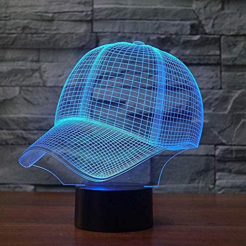 3D Led Luz De Noche Lámpara De Mesa Decorativa Sombrero 7 Colores Control Remoto Toque Juguetes Decoración Navidad Regalo De Cumpleaños