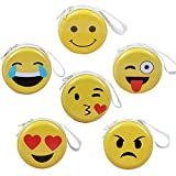 Smiley Mini Coin Purse for Kids, Coin Tray Wallet Key Holder Clutch Bags, Headphones, Data Cable Storage Package, Gift for Boy and Girls (6 pack)