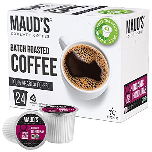 Maud's Organic Honduran Coffee (Organic Dark Roast Coffee), 24ct. Solar Energy Produced Recyclable Single Serve Fair Trade Single Origin Honduras Coffee Pods - 100% Arabica Coffee, KCup Compatible