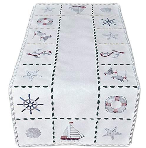 Raebel Tischdecke Tischläufer Mitteldecke Maritime Stickerei, wollweiß mit bunter Stickerei 40 x 90 cm/Aufmachung 1 Stück