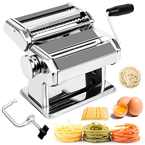 BABYLTRL Pasta Maker - Stainless Steel Pasta Machine, 8 Adjustable Thickness Settings Noodles Maker Includes Hand Crank Clamp, Homemade Pasta Roller Cutter for Fettuccine Spaghetti Lasagnette