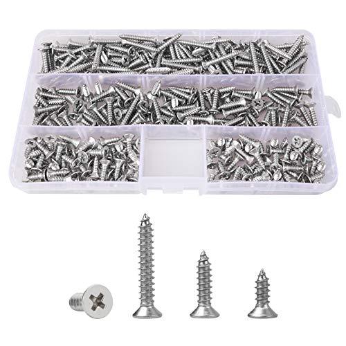 Tornillo autorroscante de acero inoxidable M4 de 300 piezas, tornillo de cabeza plana cruzada, kit de clasificación de tornillos autorroscantes de12 mm16mm25 mm, grupo de tornillos para carpintería
