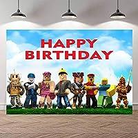 カートゥーン背景ウォールドロップロブロックスゲーム写真背景誕生日パーティフォトブース背景ブルースカイとホワイトクラウド写真ブーススタジオ小道具背景写真用背景幕