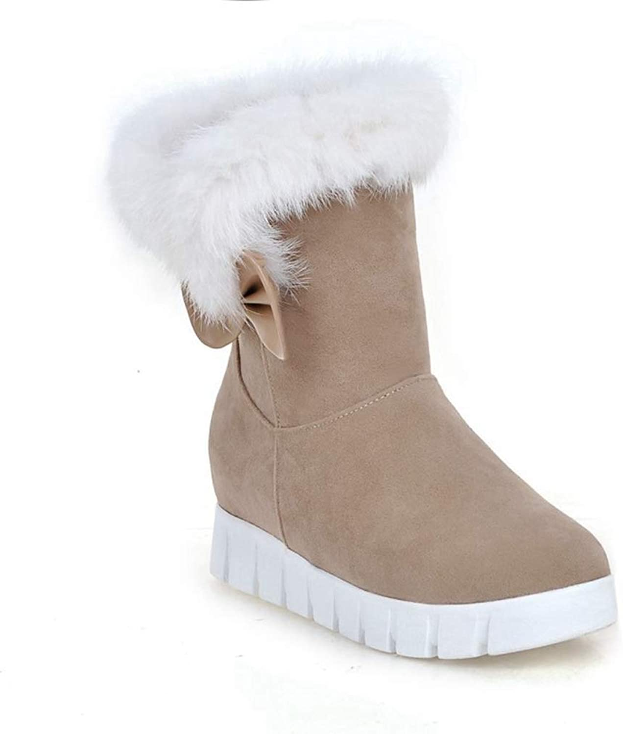 Fashion shoesbox Women's Faux Fur Winter Snow Boots Casual Solid Pull On Mid Calf Mid Heel Platform Warm Antiskid Ankle Booties