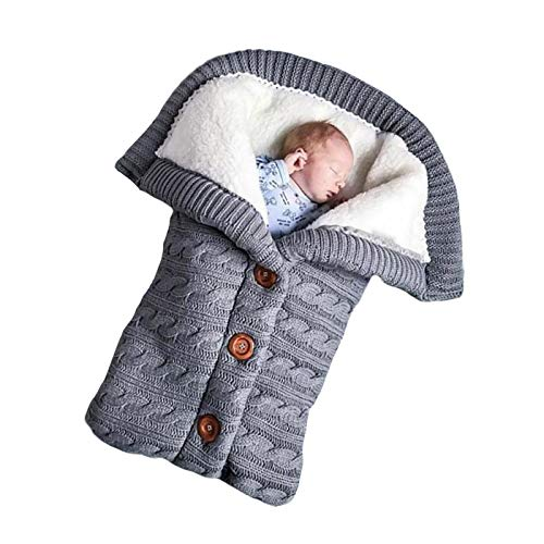 Schlafsäcke Baby Winter,Neugeborenes Baby Gestrickt Wickeln Swaddle Decke Kinderwagen Schlafsack für 0-24 Monat Baby (Grau, 68x 40cm)