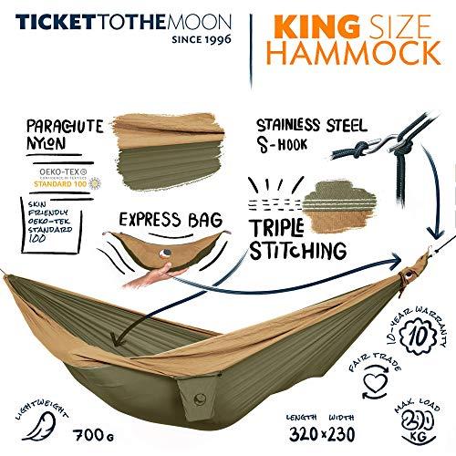 Ticket to the Moon Fair Trade & handgemachte King Size 1-2-Personen- Leicht-Hängematte Army Green - Brown für Reisen, Camping und Alltag, 3,2 * 2,3m, 700g, Oeko-TEX, 10J. Garantie