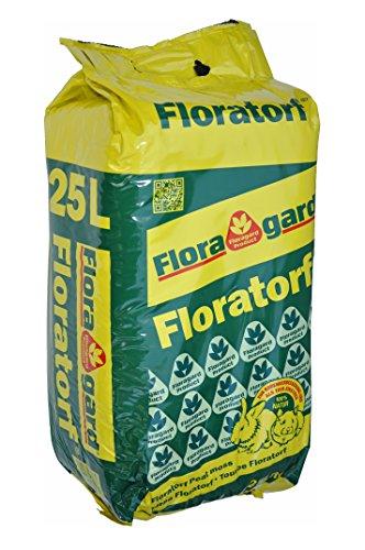 Floragard Flora natürlicher Torf - 25 L - Einstreu für Kleintiere und Nager - Heimtierstreu für Käfig, Stall, Terrarium (gepresst)