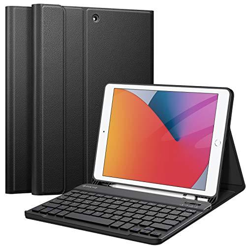 Fintie Tastatur Hülle für iPad 10.2 Zoll (8. & 7. Generation - 2020 / 2019), Soft TPU Rückseite Gehäuse Schutzhülle mit Pencil Halter, magnetisch Abnehmbarer Tastatur mit QWERTZ Layout, Schwarz