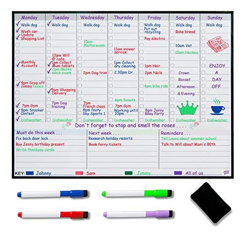 Lavagna magnetica settimanale per Frigorifero – Planner settimanale per i pasti – Calendario familiare – Organizzati con il planning per ridurre lo stress nella tua vita