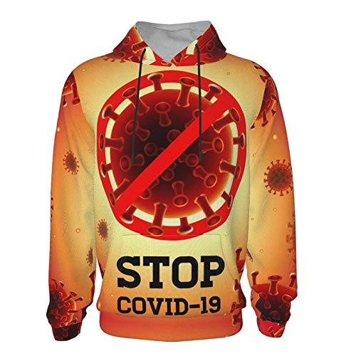 Stop Corona-Vir-Us Teen Hooded Sweater,Child Age 7-20 Kid's Hooded Sweatshirt Boys and Girls 3D Print Hoodies Black