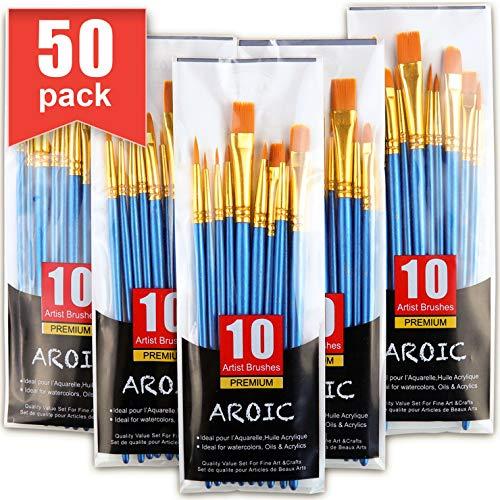Juego de 50 pinceles de nailon para pintura de acuarela, acrílico, pintura de acuarela, artista profesional, kits de pintura