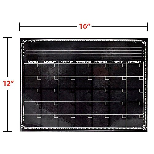 Magnetic Refrigerator Calendar Dry Erase Black Chalkboard Board Design | Monthly for Kitchen Fridge| Use w/ Wet Wipe Fluorescent or Neon Markers … Photo #7