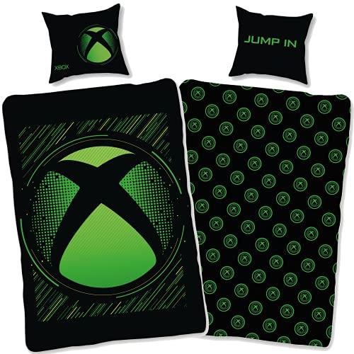 Ropa de cama Xbox, 135 x 200 cm, 80 x 80 cm, funda de almohada de algodón, ropa de cama para niños y adolescentes, con cremallera, tamaño alemán Öko-Tex Standard
