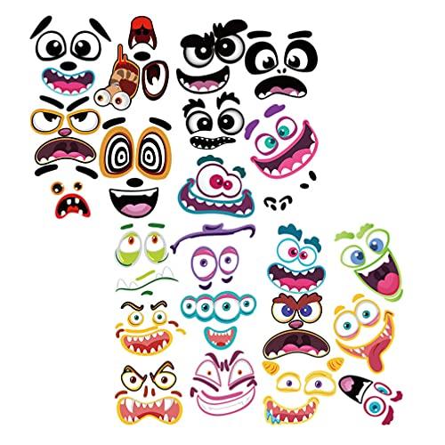 TOYANDONA 4 vellen pompoen versieren ambachtelijke stickers maken uw eigen jack- o-lantaarn gezicht stickers Halloween…