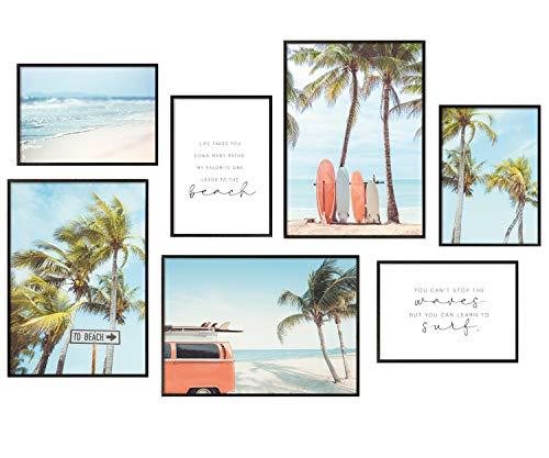 Hyggelig Home Premium Poster Set - 7 passende Bilder im stilvollen Set - Collage Bild Wand Deko - 3 x DIN A3 + 4 x DIN A4 - Set Surfing ohne Rahmen