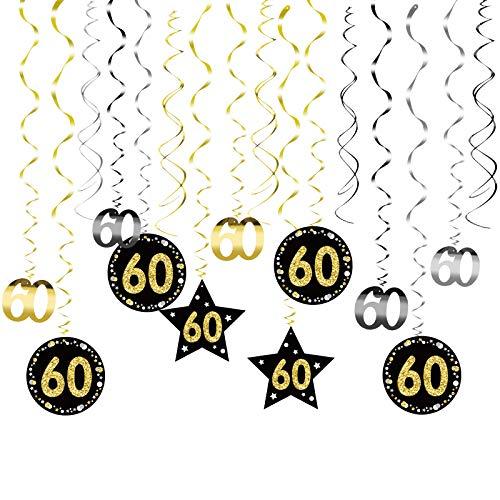 MEZOOM 24pcs Remolinos Colgantes Cumpleaños 60 años Adornos de Espirales Banner Happy Birthday Guirnalda de Feliz Cumpleaños Serpentinas Fiesta para Cumpleaño Bodas Aniversario