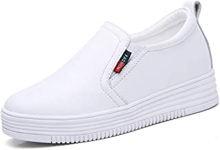 [WOOYOO] 厚底 スニーカー レディース カジュアルシューズ インヒール 軽量 シークレットシューズ シンプル 靴 スリッポン 美脚 6.5cmアップ 黒白 歩きやすい 可愛い ダイエット 春