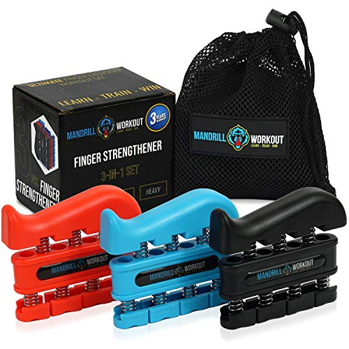 (3 Pack) Finger Strengthener Workout Kit - Finger Exerciser for Forearm and Hand Grip Strengthener - Workout Equipment for Musician, Rock Climbing and Therapy - Hand Gripper Set Finger Grip Kit