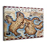 peter pan artwork - Map Of Neverland Canvas Print Wall Art Picture Painting For Living Room Bedroom Modern Home Decor Ready To Hang Stretched And Framed Artwork 16''x20''
