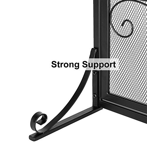 VINGLI Wrought Iron Fireplace Screen with 2 Magnetic Doors, Fire Place Panel Free Standing Gate with Mesh Cover for Baby Safe, Spark Guard and Wood Burning Hearth Accessories